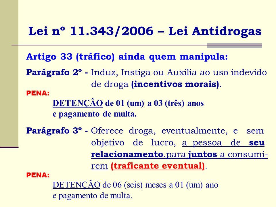 Lei nº 11.343/2006 – Lei Antidrogas Artigo 33 (tráfico) ainda quem manipula: Parágrafo 2º - Induz, Instiga ou Auxilia ao uso indevido de droga (incent