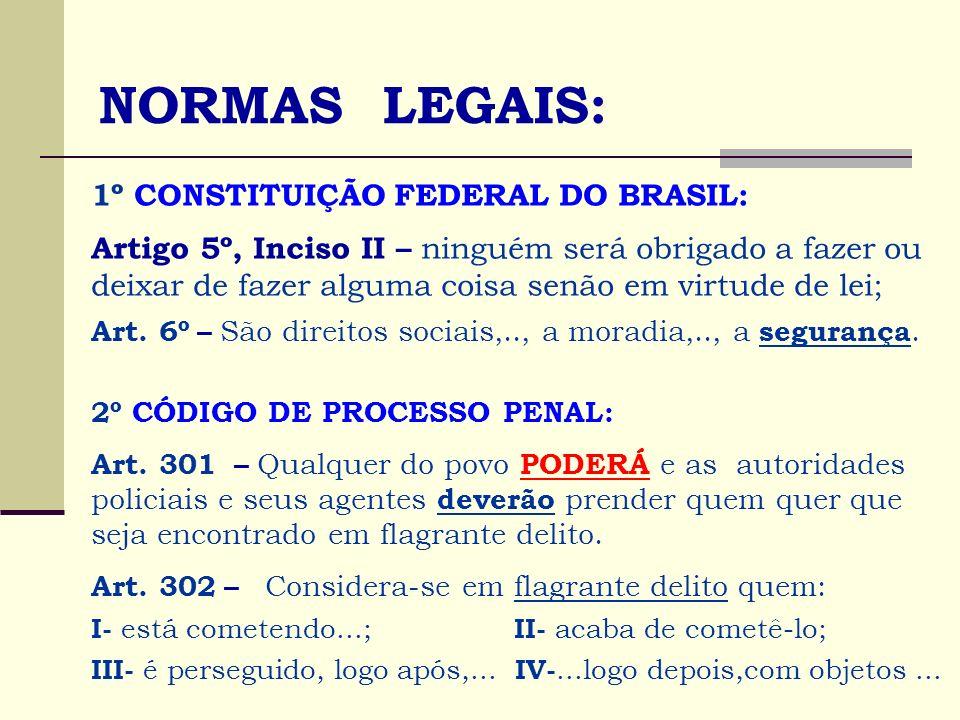 NORMAS LEGAIS: 1º CONSTITUIÇÃO FEDERAL DO BRASIL: Artigo 5º, Inciso II – ninguém será obrigado a fazer ou deixar de fazer alguma coisa senão em virtud
