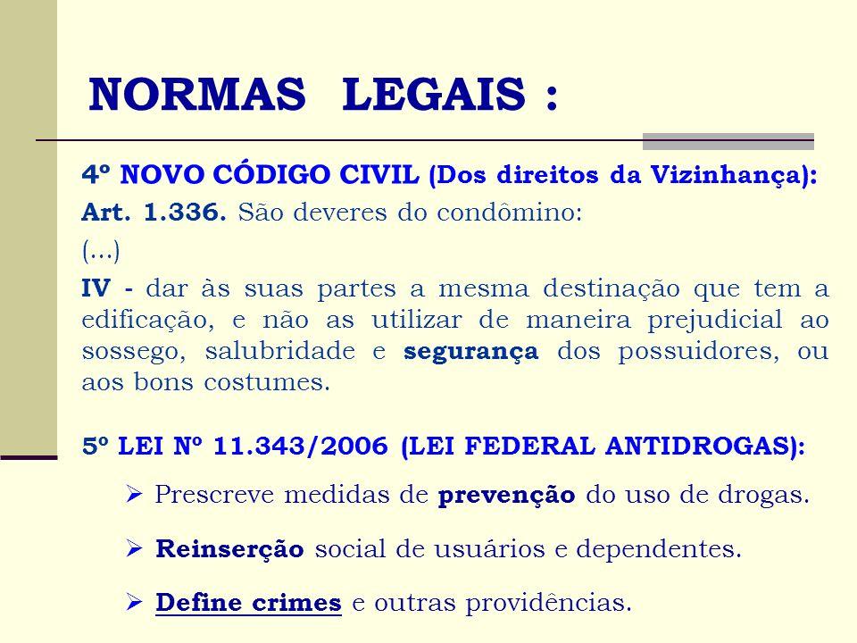 NORMAS LEGAIS : 4º NOVO CÓDIGO CIVIL (Dos direitos da Vizinhança) : Art. 1.336. São deveres do condômino: (...) IV - dar às suas partes a mesma destin