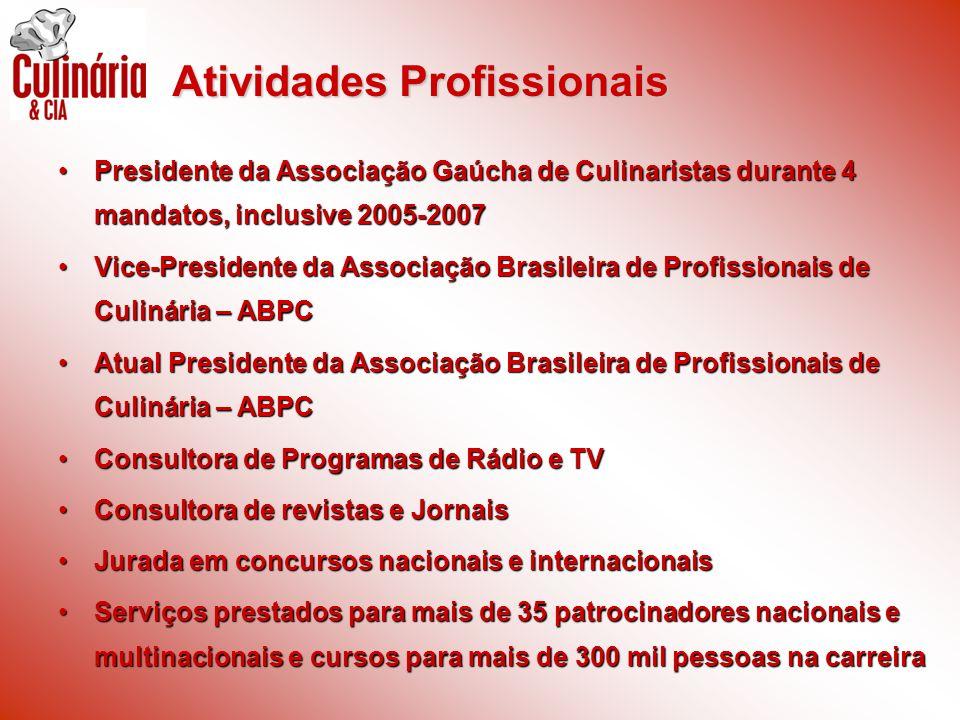 Presidente da Associação Gaúcha de Culinaristas durante 4 mandatos, inclusive 2005-2007Presidente da Associação Gaúcha de Culinaristas durante 4 manda