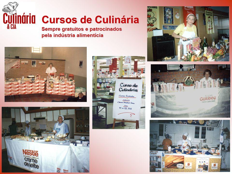 Cursos de Culinária Sempre gratuitos e patrocinados pela indústria alimentícia