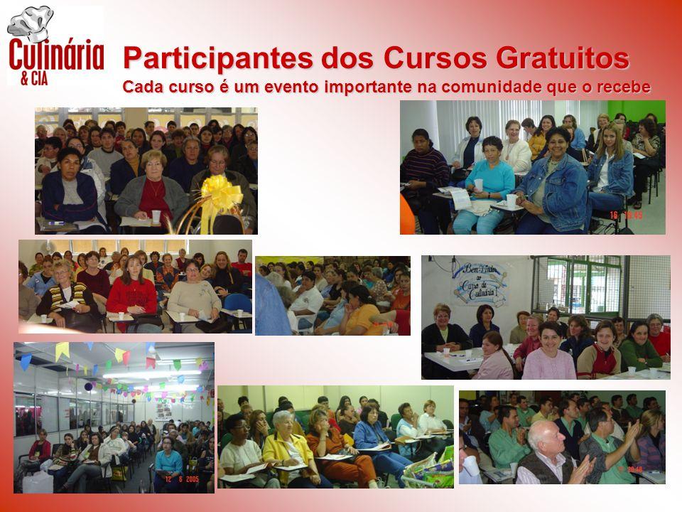 Participantes dos Cursos Gratuitos Cada curso é um evento importante na comunidade que o recebe