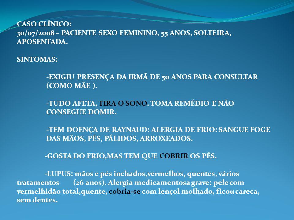 CASO CLÍNICO: 30/07/2008 – PACIENTE SEXO FEMININO, 55 ANOS, SOLTEIRA, APOSENTADA. SINTOMAS: -EXIGIU PRESENÇA DA IRMÃ DE 50 ANOS PARA CONSULTAR (COMO M