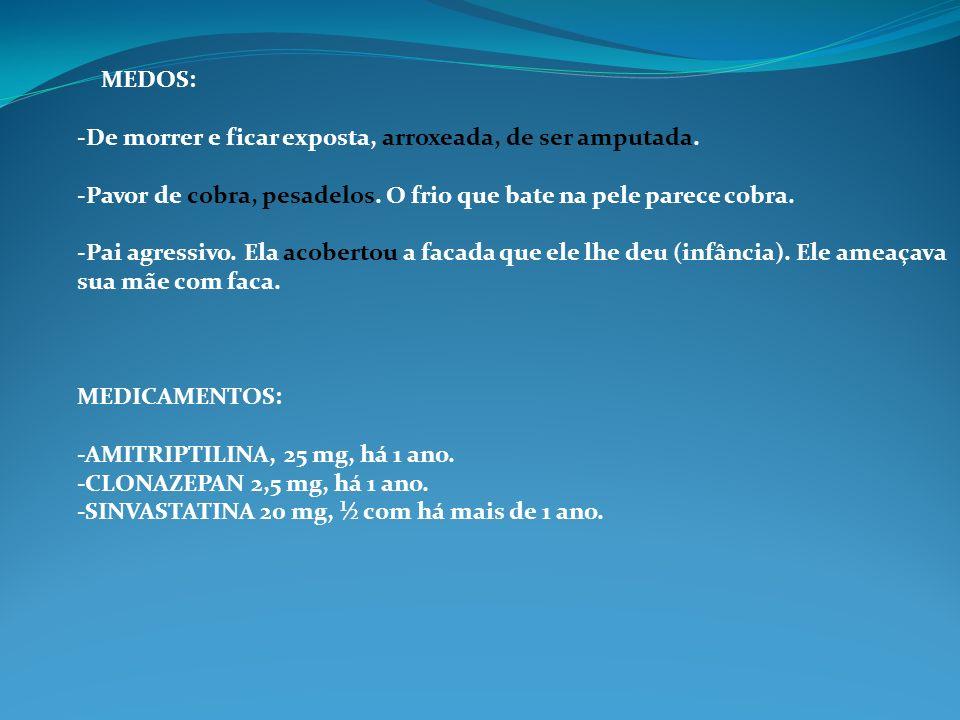 OBSERVAÇÃO PROGNÓSTICA: -DOENÇA COMPLEXA -DINAMICA: SONHO COM COBRA, COBERTURA, ACOBERTAR.