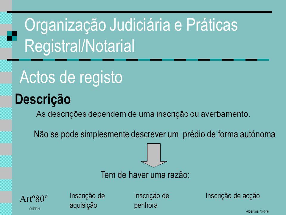 Albertina Nobre OJPRN Organização Judiciária e Práticas Registral/Notarial Actos de registo Descrição Artº80º As descrições dependem de uma inscrição