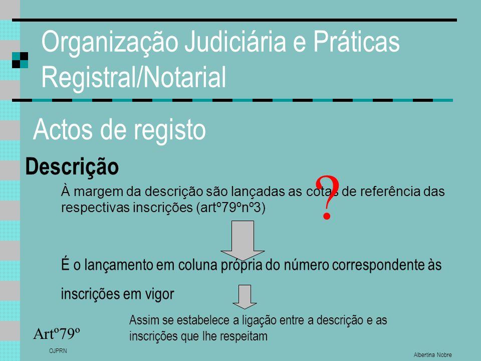 Albertina Nobre OJPRN Organização Judiciária e Práticas Registral/Notarial Actos de registo Descrição Artº79º À margem da descrição são lançadas as co