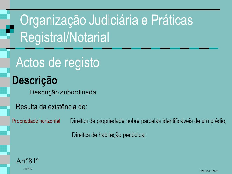 Albertina Nobre OJPRN Organização Judiciária e Práticas Registral/Notarial Actos de registo Descrição Artº81º Descrição subordinada Direitos de habita
