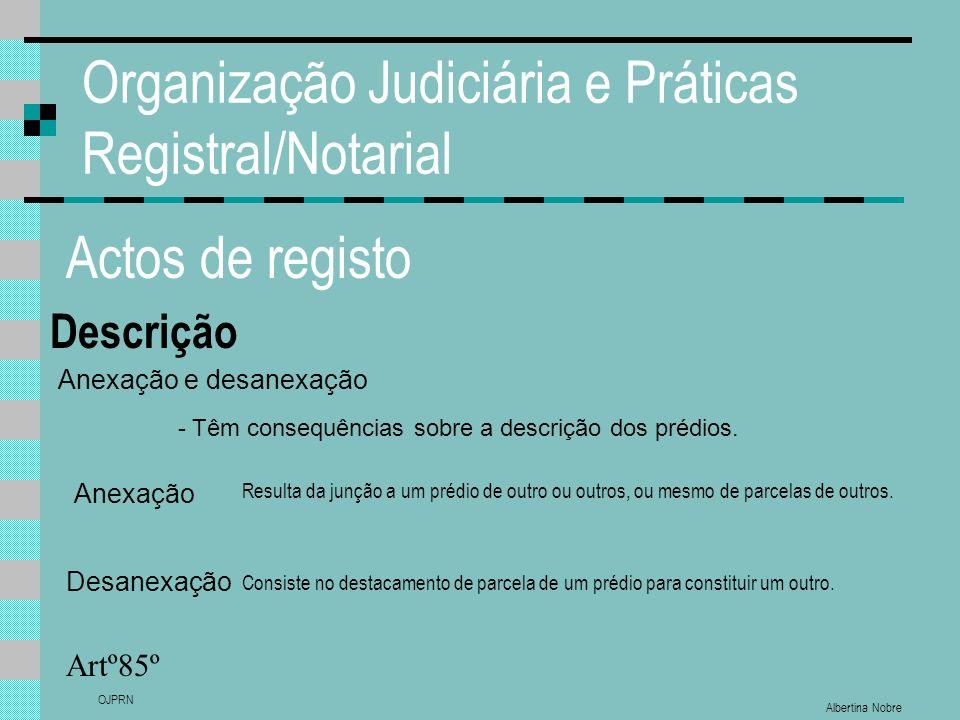 Albertina Nobre OJPRN Organização Judiciária e Práticas Registral/Notarial Actos de registo Descrição Artº85º Anexação e desanexação - Têm consequênci