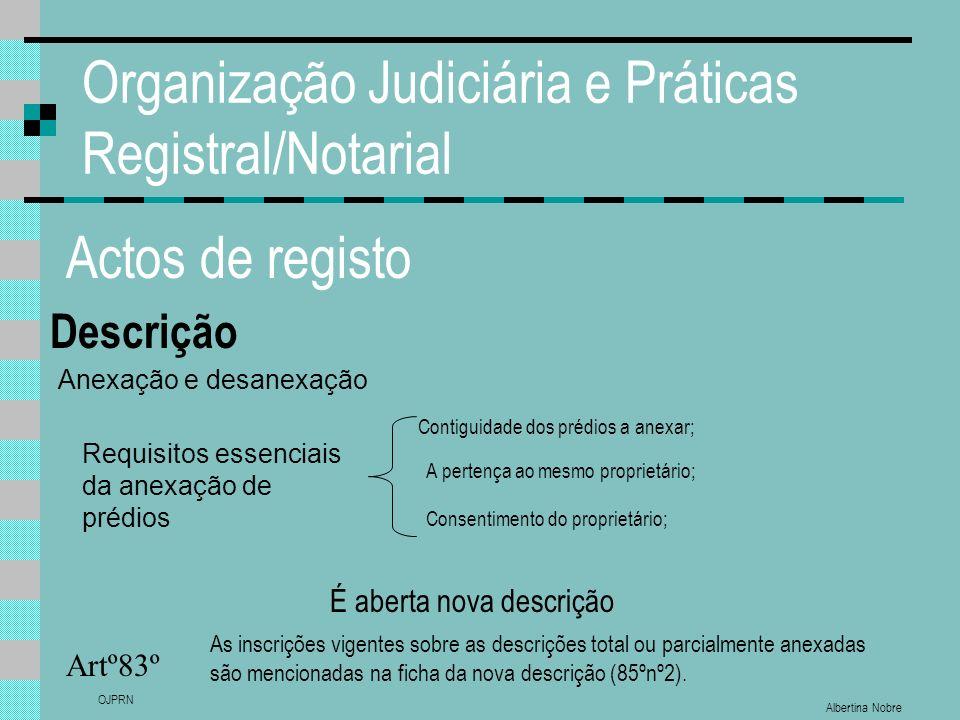 Albertina Nobre OJPRN Organização Judiciária e Práticas Registral/Notarial Actos de registo Descrição Artº83º Anexação e desanexação Requisitos essenc