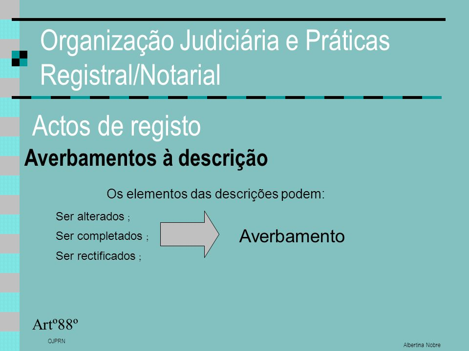 Albertina Nobre OJPRN Organização Judiciária e Práticas Registral/Notarial Actos de registo Averbamentos à descrição Artº88º Os elementos das descriçõ