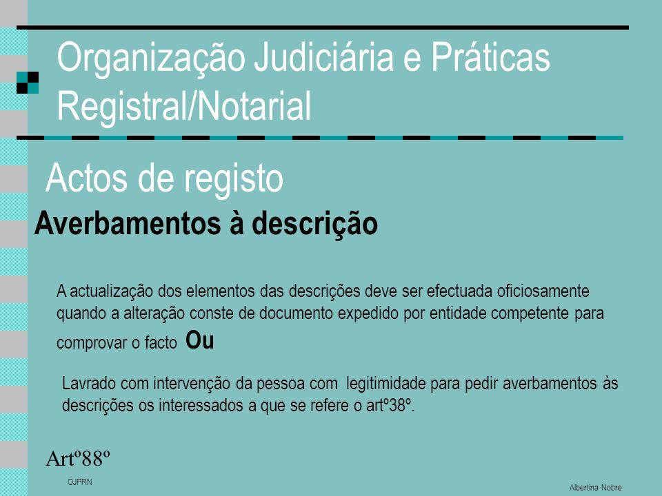 Albertina Nobre OJPRN Organização Judiciária e Práticas Registral/Notarial Actos de registo Averbamentos à descrição Artº88º A actualização dos elemen