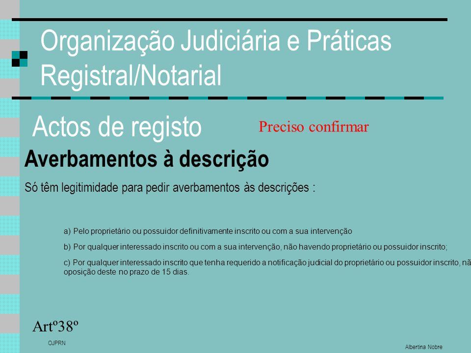 Albertina Nobre OJPRN Organização Judiciária e Práticas Registral/Notarial Actos de registo Averbamentos à descrição Artº38º Só têm legitimidade para