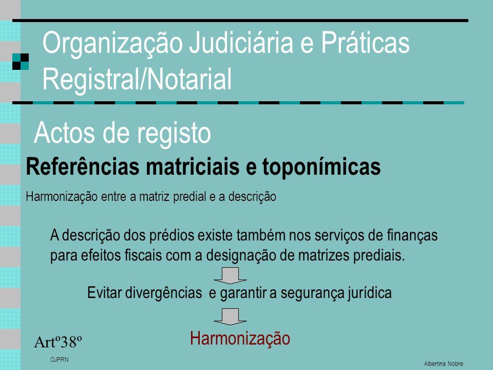 Albertina Nobre OJPRN Organização Judiciária e Práticas Registral/Notarial Actos de registo Referências matriciais e toponímicas Artº38º Harmonização