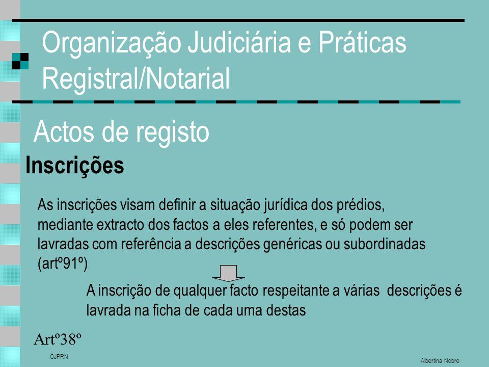 Albertina Nobre OJPRN Organização Judiciária e Práticas Registral/Notarial Actos de registo Inscrições Artº38º As inscrições visam definir a situação