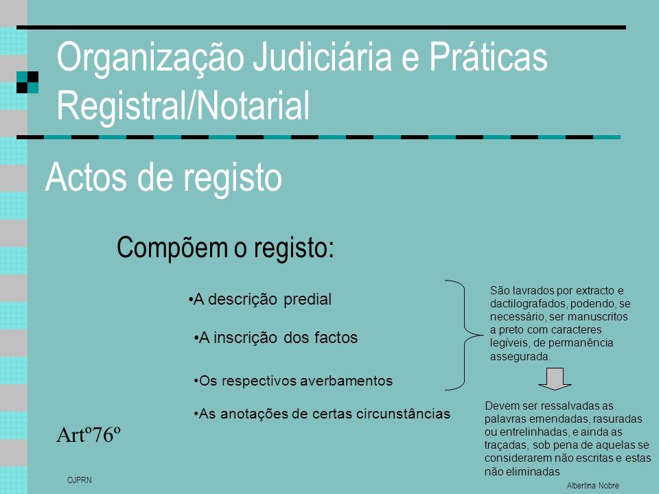 Albertina Nobre OJPRN Organização Judiciária e Práticas Registral/Notarial Actos de registo Compõem o registo: Artº76º A descrição predial A inscrição