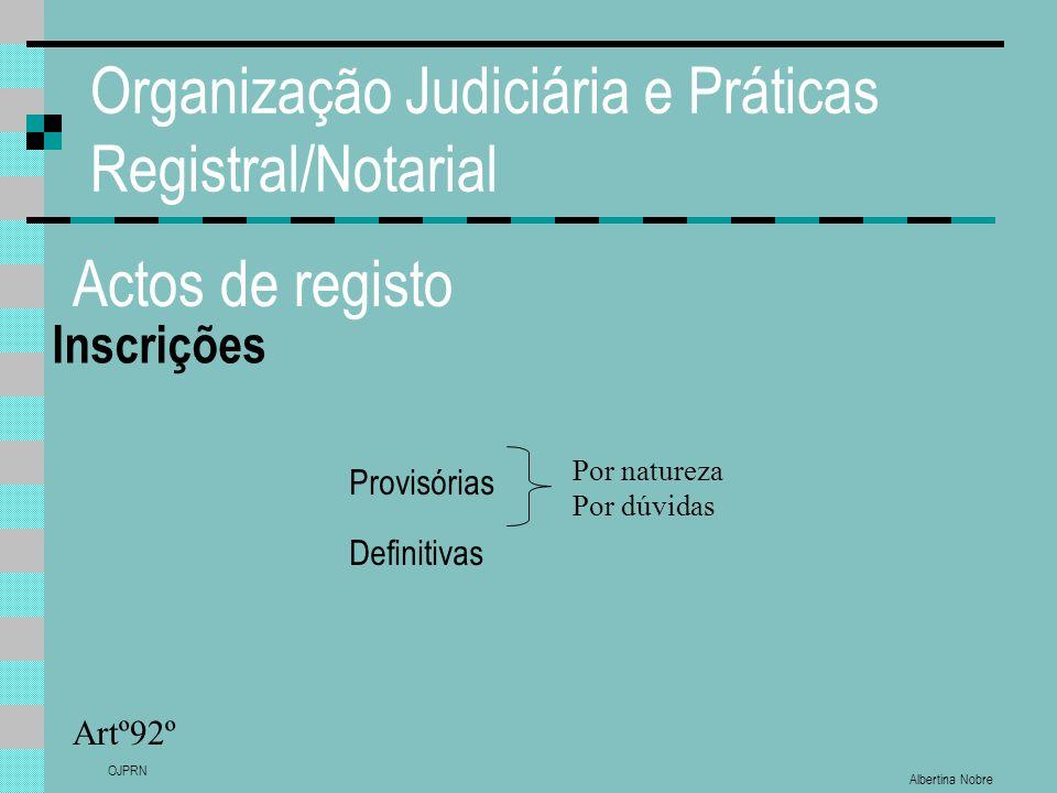 Albertina Nobre OJPRN Organização Judiciária e Práticas Registral/Notarial Actos de registo Inscrições Artº92º Provisórias Definitivas Por natureza Po