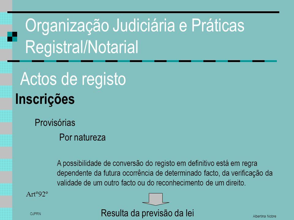 Albertina Nobre OJPRN Organização Judiciária e Práticas Registral/Notarial Actos de registo Inscrições Provisórias Por natureza A possibilidade de con
