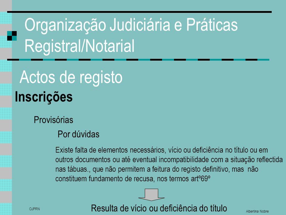 Albertina Nobre OJPRN Organização Judiciária e Práticas Registral/Notarial Actos de registo Inscrições Provisórias Por dúvidas Existe falta de element