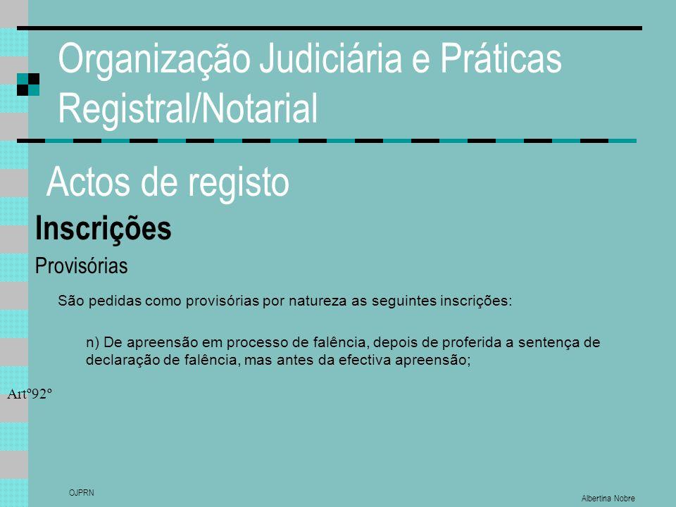 Albertina Nobre OJPRN Organização Judiciária e Práticas Registral/Notarial Actos de registo Inscrições Provisórias São pedidas como provisórias por na
