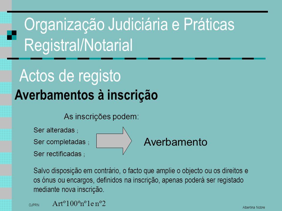 Albertina Nobre OJPRN Organização Judiciária e Práticas Registral/Notarial Actos de registo Averbamentos à inscrição Artº100ºnº1e nº2 As inscrições po
