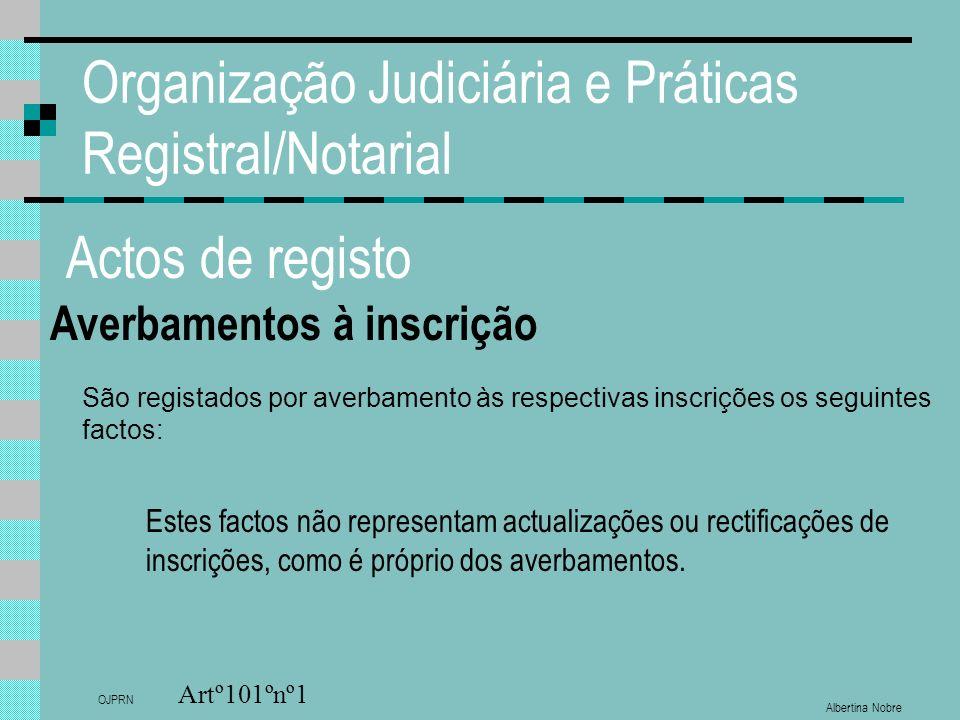 Albertina Nobre OJPRN Organização Judiciária e Práticas Registral/Notarial Actos de registo Averbamentos à inscrição Artº101ºnº1 São registados por av