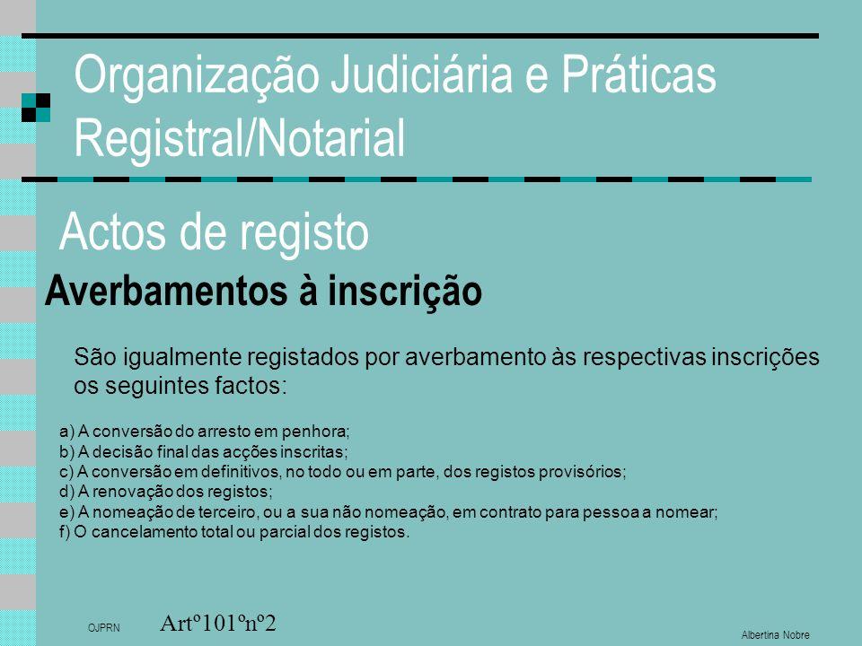 Albertina Nobre OJPRN Organização Judiciária e Práticas Registral/Notarial Actos de registo Averbamentos à inscrição Artº101ºnº2 São igualmente regist
