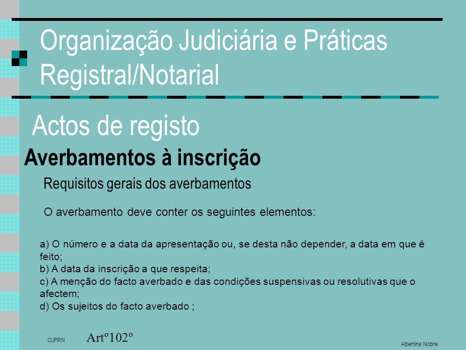 Albertina Nobre OJPRN Organização Judiciária e Práticas Registral/Notarial Actos de registo Averbamentos à inscrição Artº102º a) O número e a data da