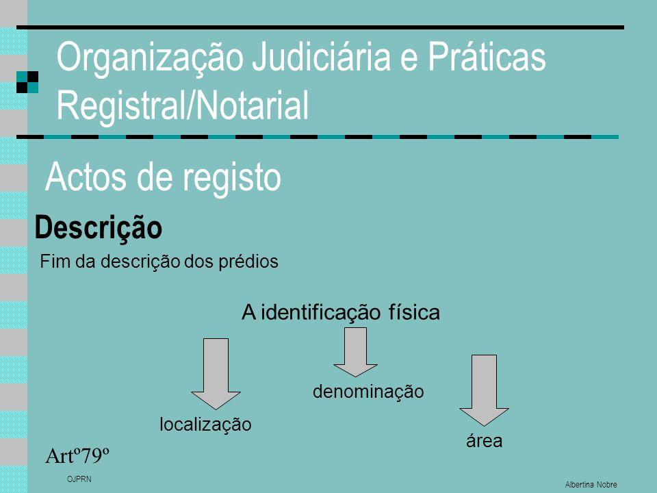 Albertina Nobre OJPRN Organização Judiciária e Práticas Registral/Notarial Actos de registo Descrição Artº79º localização A identificação física denom
