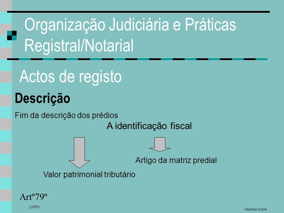 Albertina Nobre OJPRN Organização Judiciária e Práticas Registral/Notarial Actos de registo Descrição Artº79º Fim da descrição dos prédios Valor patri