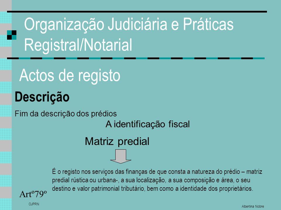 Albertina Nobre OJPRN Organização Judiciária e Práticas Registral/Notarial Actos de registo Descrição Artº79º Fim da descrição dos prédios A identific
