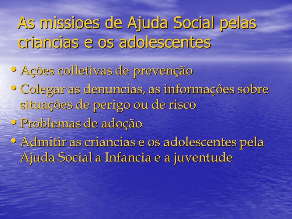As missioes de Ajuda Social pelas criancias e os adolescentes Açôes colletivas de prevenção Açôes colletivas de prevenção Colegar as denuncias, as inf
