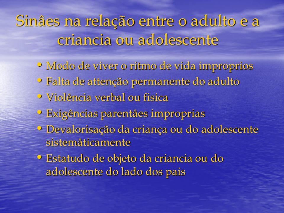 Sinâes na relação entre o adulto e a criancia ou adolescente Modo de viver o ritmo de vida improprios Modo de viver o ritmo de vida improprios Falta d