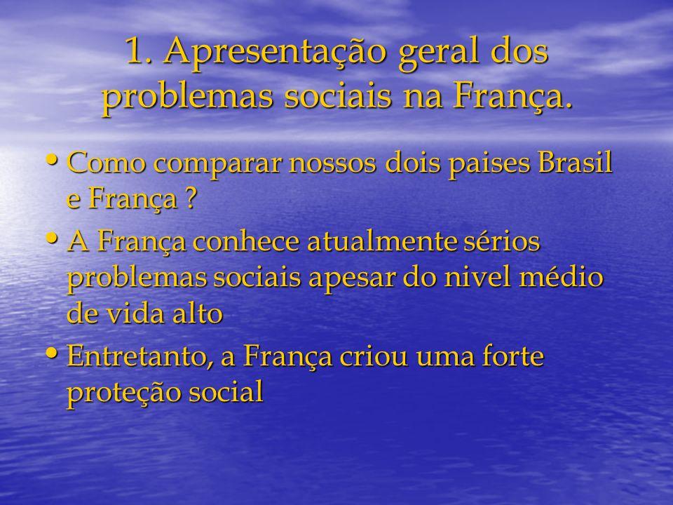 1. Apresentação geral dos problemas sociais na França. Como comparar nossos dois paises Brasil e França ? Como comparar nossos dois paises Brasil e Fr