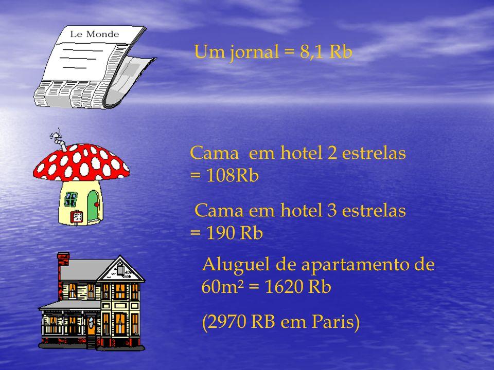 Um jornal = 8,1 Rb Cama em hotel 2 estrelas = 108Rb Cama em hotel 3 estrelas = 190 Rb Aluguel de apartamento de 60m² = 1620 Rb (2970 RB em Paris)