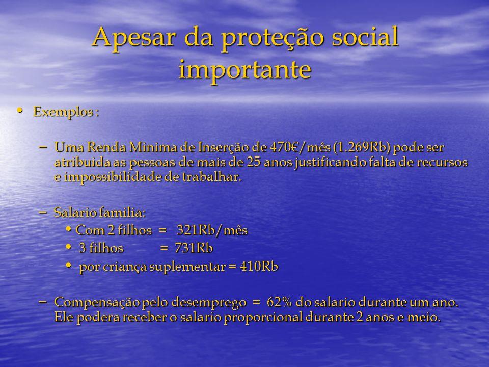Apesar da proteção social importante Exemplos : Exemplos : – Uma Renda Minima de Inserção de 470/mês (1.269Rb) pode ser atribuida as pessoas de mais d