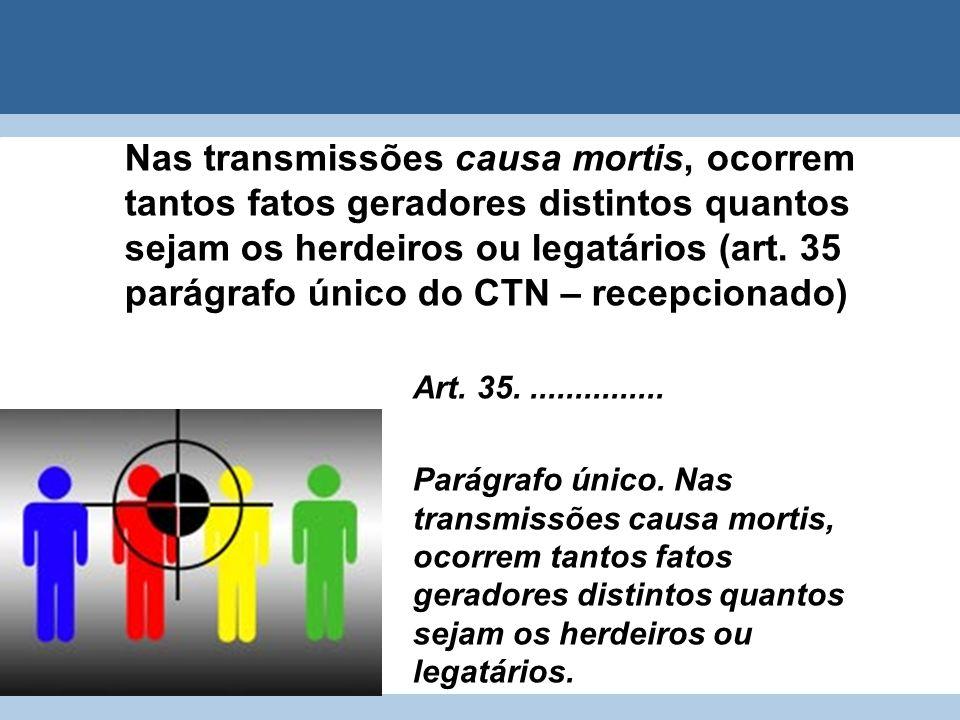 Nas transmissões causa mortis, ocorrem tantos fatos geradores distintos quantos sejam os herdeiros ou legatários (art. 35 parágrafo único do CTN – rec