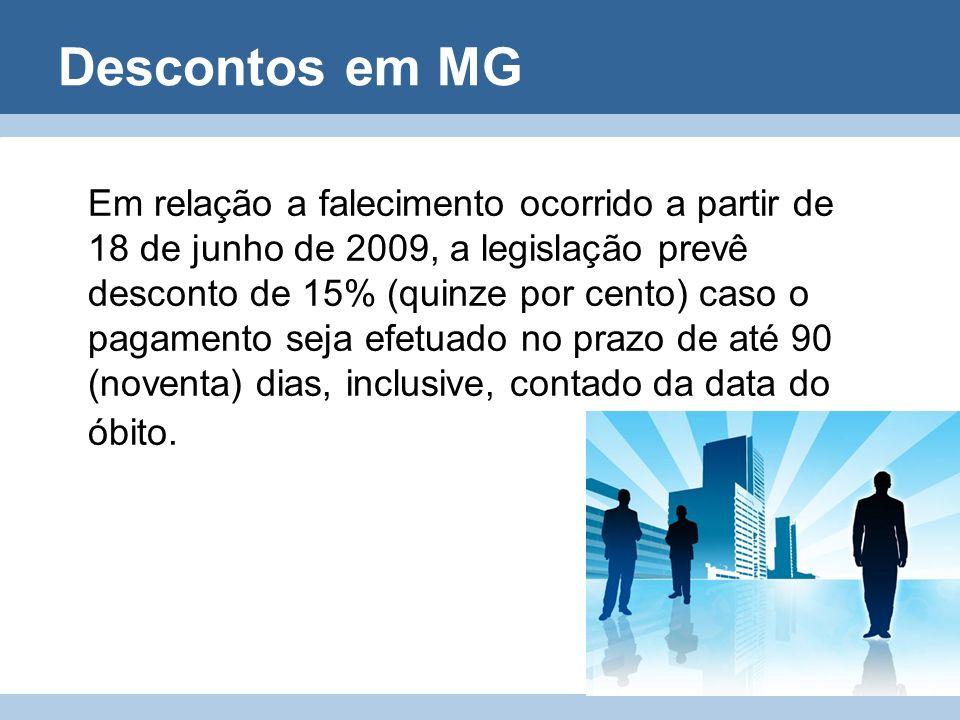 Descontos em MG Em relação a falecimento ocorrido a partir de 18 de junho de 2009, a legislação prevê desconto de 15% (quinze por cento) caso o pagame