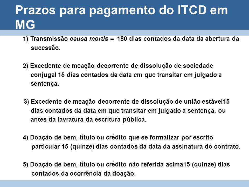 Prazos para pagamento do ITCD em MG 1) Transmissão causa mortis = 180 dias contados da data da abertura da sucessão. 2) Excedente de meação decorrente