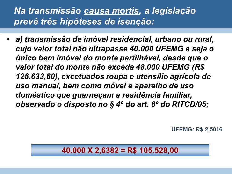 Na transmissão causa mortis, a legislação prevê três hipóteses de isenção: a) transmissão de imóvel residencial, urbano ou rural, cujo valor total não