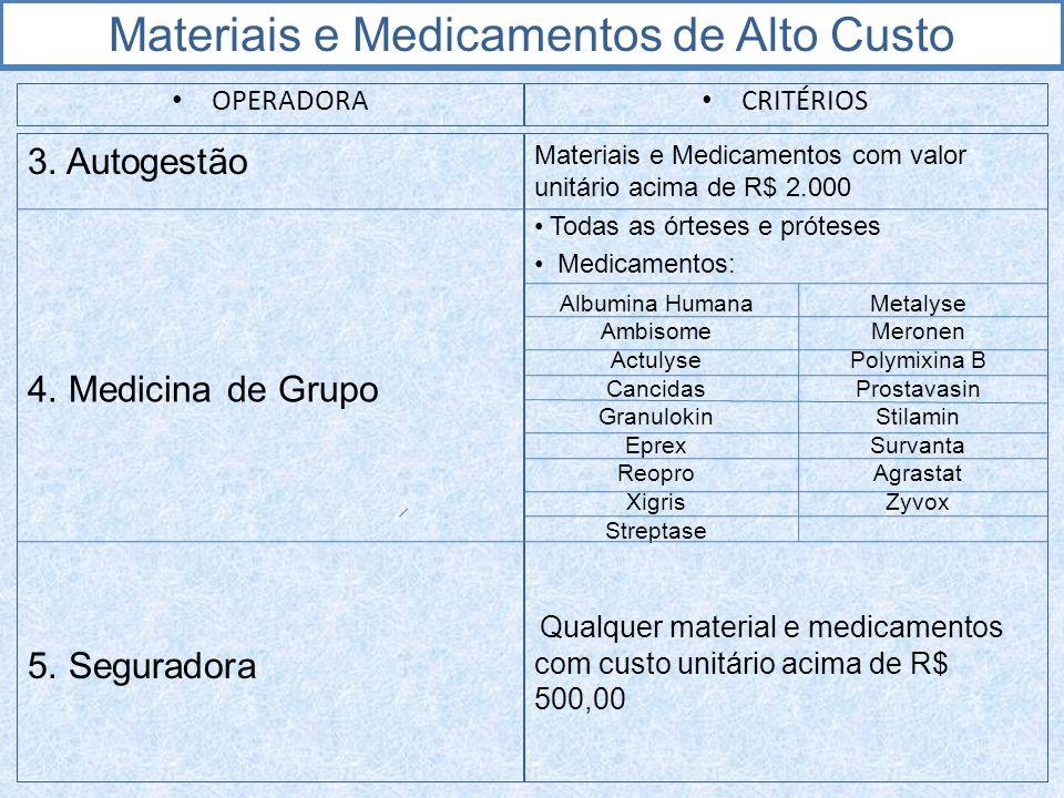 Materiais e Medicamentos de Alto Custo OPERADORA CRITÉRIOS 3. Autogestão Materiais e Medicamentos com valor unitário acima de R$ 2.000 Todas as órtese