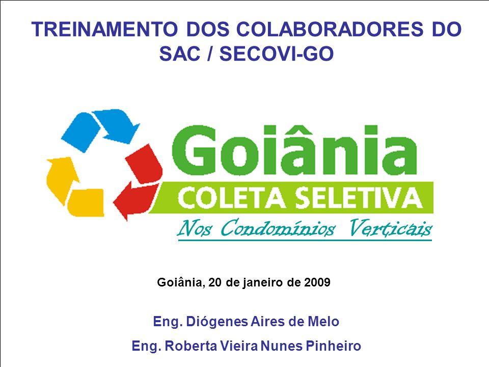 Nos Condomínios Verticais Goiânia, 20 de janeiro de 2009 TREINAMENTO DOS COLABORADORES DO SAC / SECOVI-GO Eng. Diógenes Aires de Melo Eng. Roberta Vie