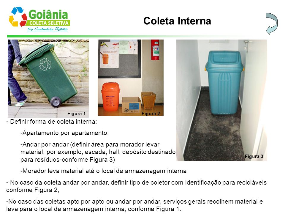 Nos Condomínios Verticais Coleta Interna - Definir forma de coleta interna: -Apartamento por apartamento; -Andar por andar (definir área para morador