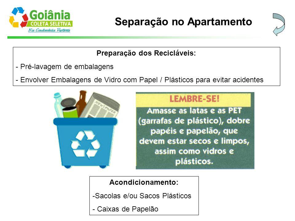 Nos Condomínios Verticais Preparação dos Recicláveis: - Pré-lavagem de embalagens - Envolver Embalagens de Vidro com Papel / Plásticos para evitar aci