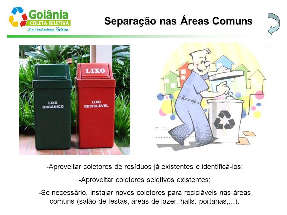 Nos Condomínios Verticais Separação nas Áreas Comuns -Aproveitar coletores de resíduos já existentes e identificá-los; -Aproveitar coletores seletivos