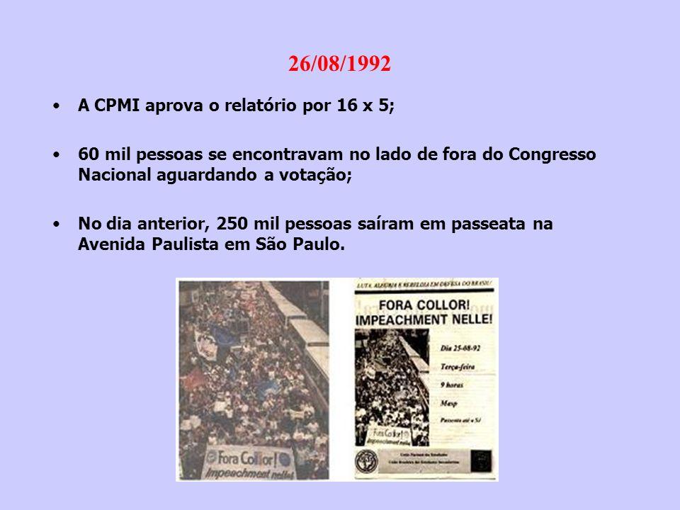 01/09/1992 Barbosa Lima Sobrinho (ABI) e Marcello Lavernere Machado (OAB), entregaram a petição de impeachment: -20 folhas; -Fundamento na Lei 1.079/50 (arts.