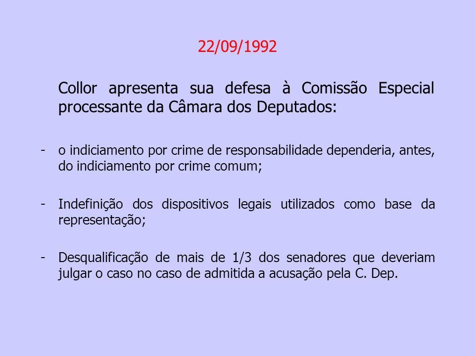 24/09/1992 – a Comissão Especial da C.Dep. aprova o parecer do Dep.