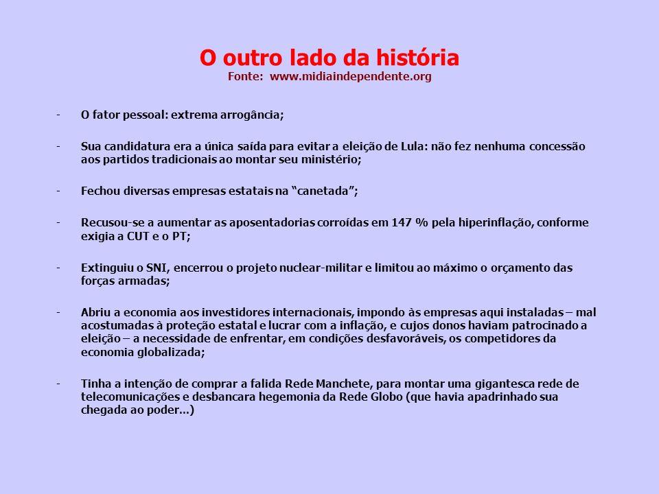O outro lado da história Fonte: www.midiaindependente.org -O fator pessoal: extrema arrogância; -Sua candidatura era a única saída para evitar a eleiç