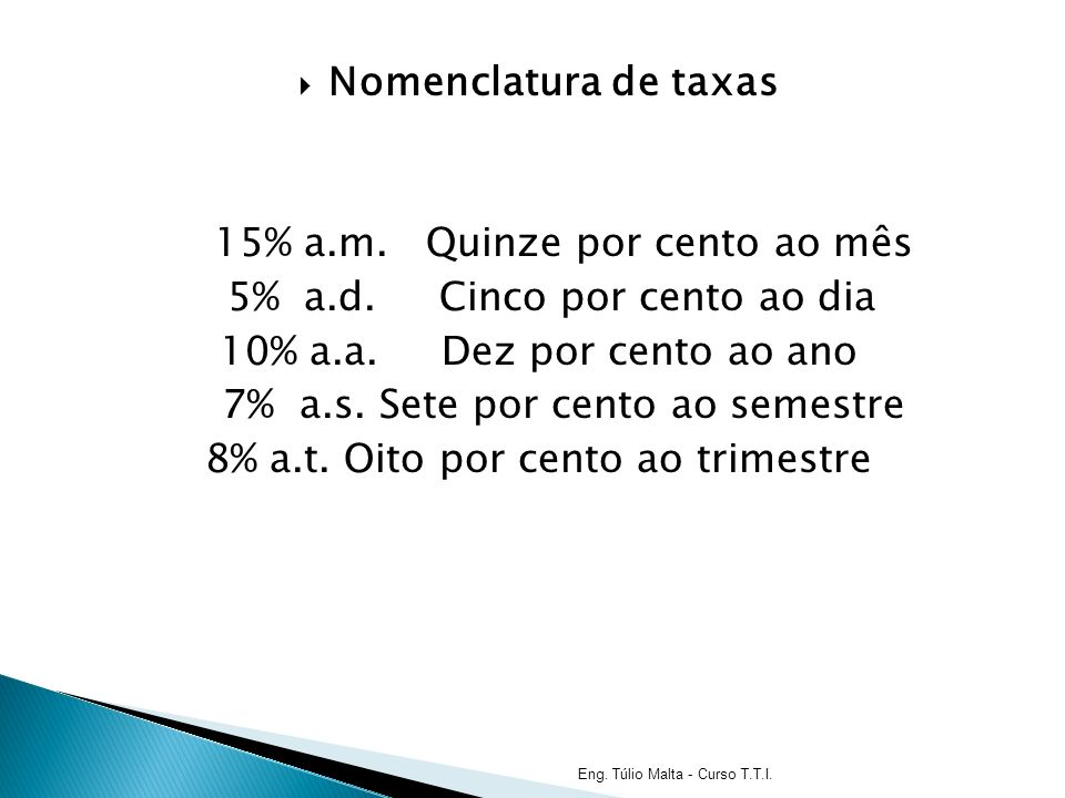 Nomenclatura de taxas 15% a.m.Quinze por cento ao mês 5% a.d.