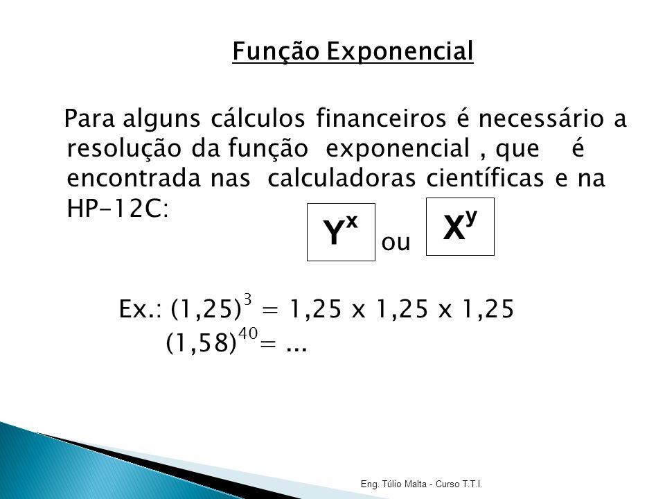 Função Exponencial Para alguns cálculos financeiros é necessário a resolução da função exponencial, que é encontrada nas calculadoras científicas e na HP-12C: ou Ex.: (1,25) 3 = 1,25 x 1,25 x 1,25 (1,58) 40 =...