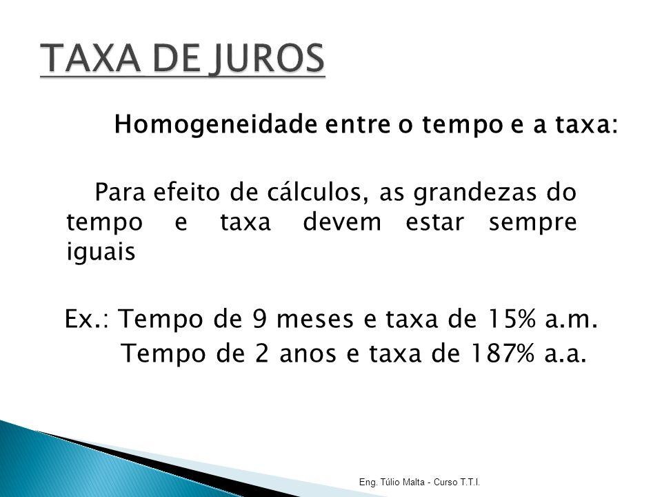 Homogeneidade entre o tempo e a taxa: Para efeito de cálculos, as grandezas do tempo e taxa devem estar sempre iguais Ex.: Tempo de 9 meses e taxa de 15% a.m.